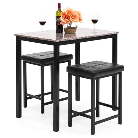 2 Kitchen - Best Choice Products Kitchen Marble Table Dining Set w/ 2 Counter Height Stools (Brown)