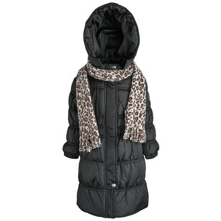 (Sportoli™  Girls Down Alternative Hooded Warm Winter Long Puffer Bubble coat)