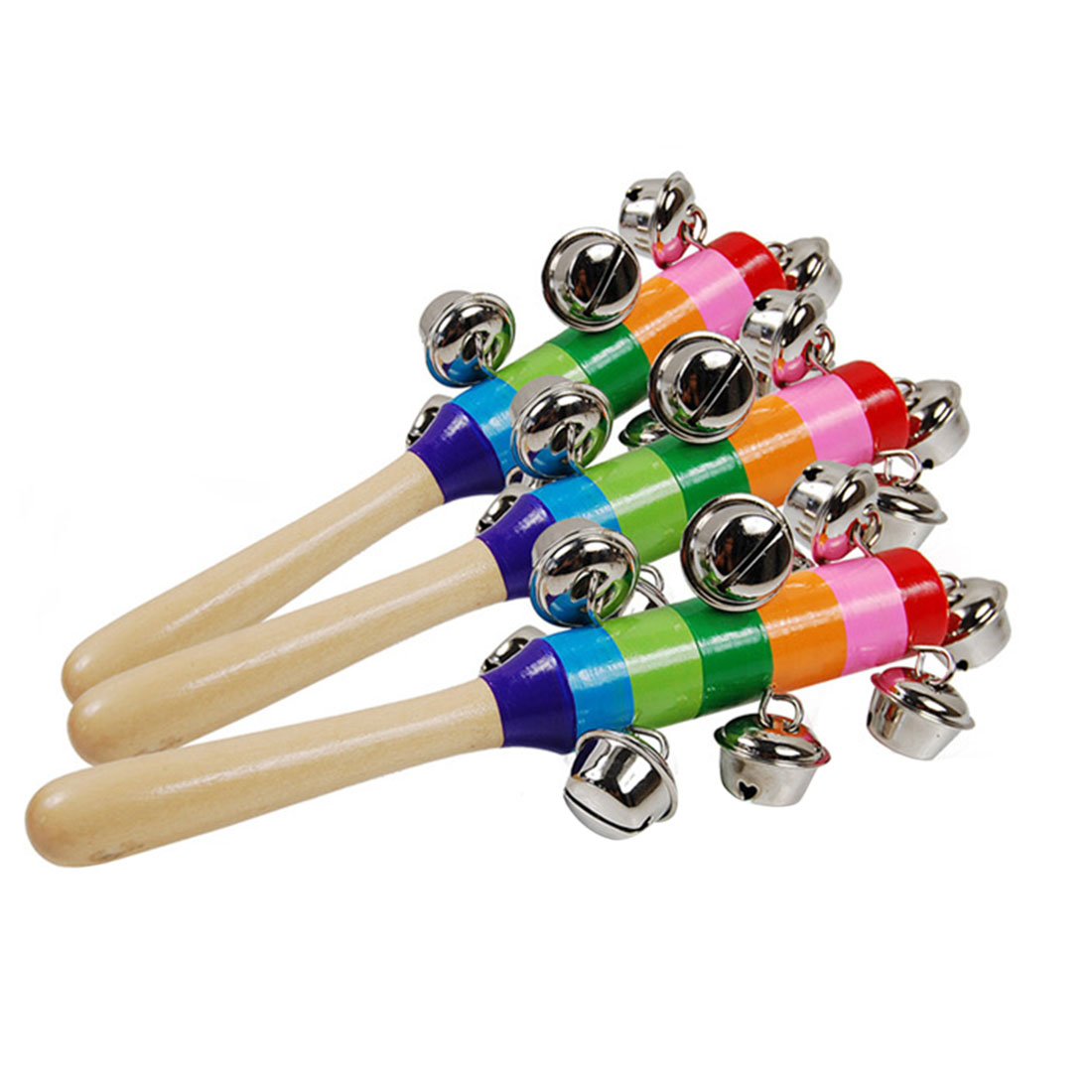 Hand Shake Jingle Bells Rainbow Wooden Stick Bell Rattles Baby Kids Musical Instrument Toys - Random Delivery