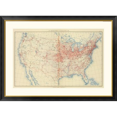Global Gallery 60 Railroad Systems 1890 By Henry Gannett Framed Graphic Art