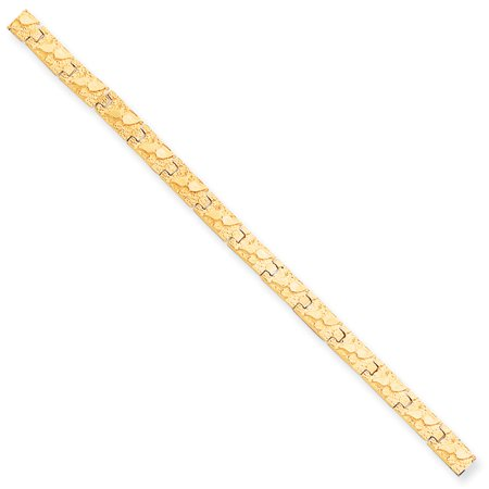 Solid 10k Yellow Gold 6.0mm NUGGET Bracelet 7""
