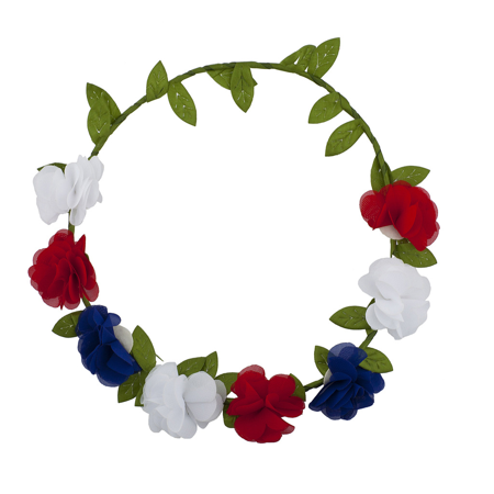 Lux Accessories Americana July 4th Flower Floral Garland Wreath Flower Crown](4th Of July Wreath)
