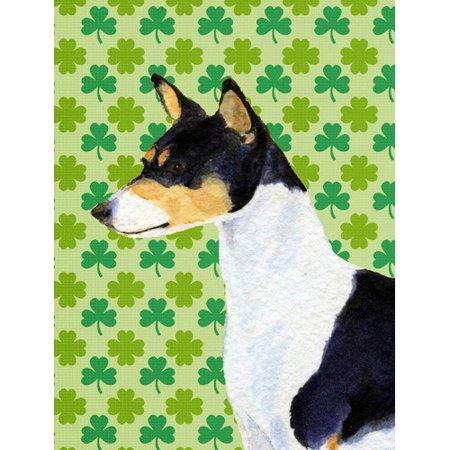 Basenji St. Patrick's Day Shamrock Portrait Flag