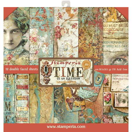"""Stamperia Double-Sided Paper Pad 12""""X12"""" 10/Pkg-Time Is An Illusion, 10 Designs/1 Each-SBBL33 - image 1 of 1"""