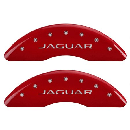 Set of 4 MGP Caliper Covers 41003Sjalrd, Engraved Front: Jaguar, Engraved Rear: Leaper, Red Powder Coat Finish, Silver Characters