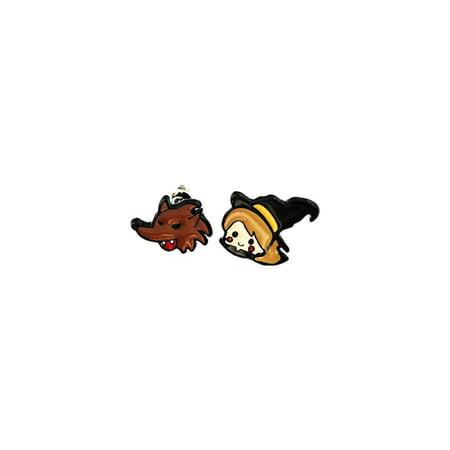 Little Witch & Wolf Halloween Silver Tone Cartoon Logo Post Earrings w/Gift Box by Superheroes