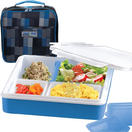 pinnacle Insulated bento lunch box- 4 or 3 compartment bento box-leak proof -slim bento style portion control meal prep food containers with matching design insulated thermal lunch bag -