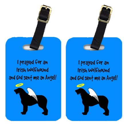 Pair of 2 Irish Wolfhound Luggage Tags