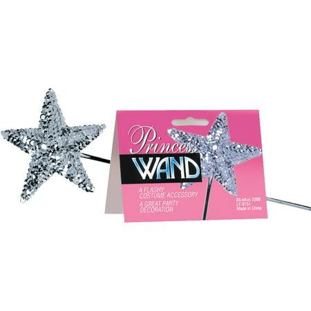 Royal Wand (Star Power Girls Flashy Royal Princess Sequin Wand, Silver, One Size (16