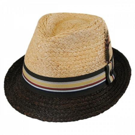 Trinidad Raffia Straw Trilby Fedora Hat - XXL - Natural/Putty