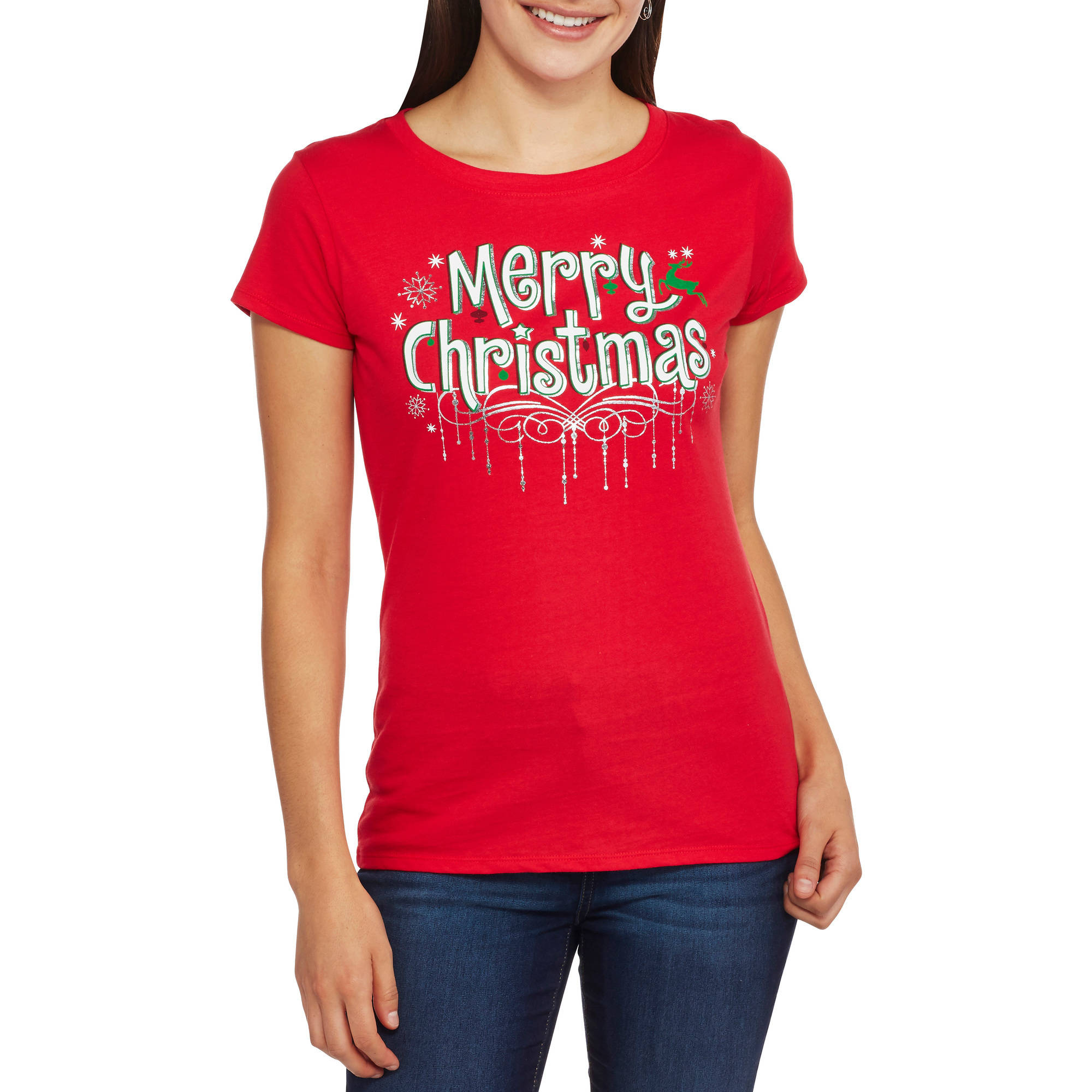 Women's Merry Christmas Short Sleeve Graphic Christmas T-Shirt