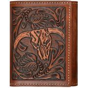 3D Western Wallet Mens Leather Trifold Steer ID Window Tan W909