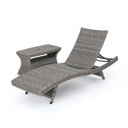 Keira Outdoor Wicker Armless Chaise Lounge With Wicker