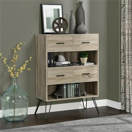 Altra Landon Bookcase with Bins, Sonoma Oak/Gunmetal Gray