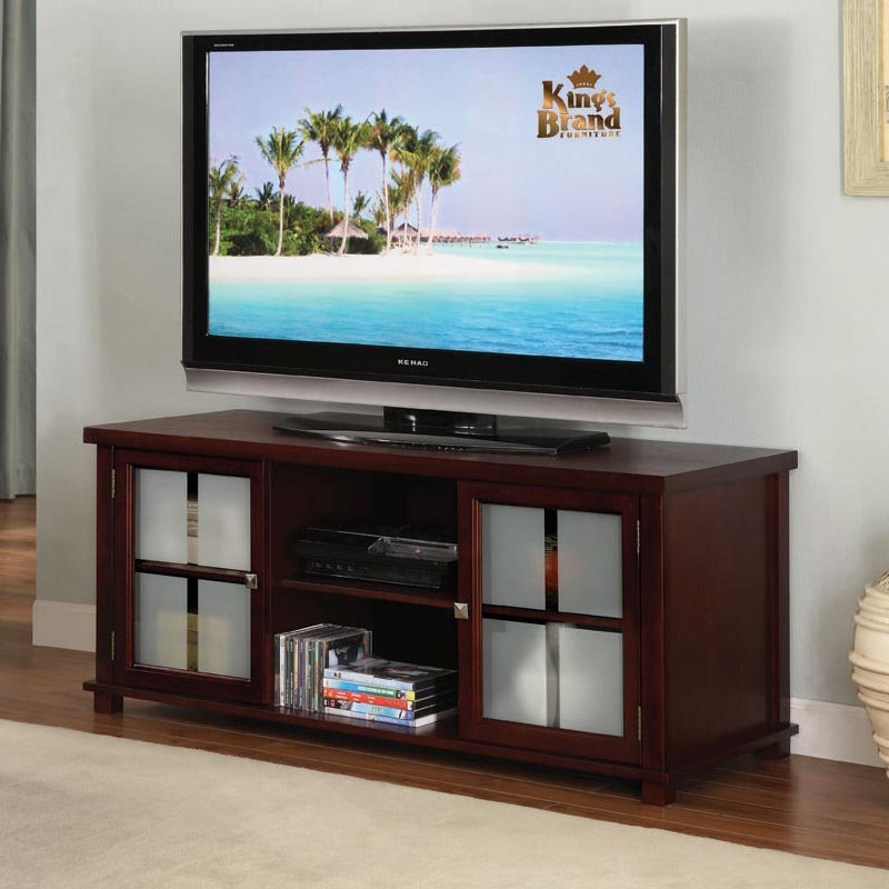 K&B Furniture 42 in. TV Stand - Dark Cherry