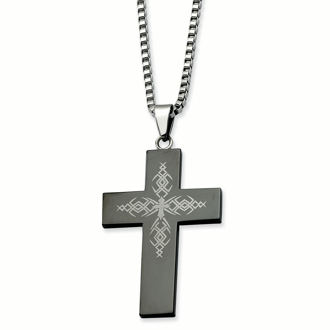 Stainless Steel Fancy Black-plated Cross Pendant 26in Necklace