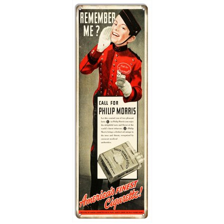 Aged Looking Philip Morris Cigarette Ad Reproduction Metal Sign 6 X18   Csrg8455