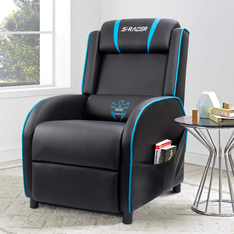 Homall Gaming Recliner Chair With Pu Leather Black Blue Walmart Com Walmart Com