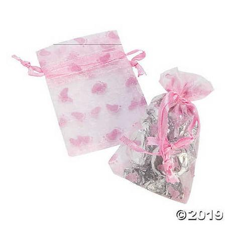 Pink Girl Baby Shower Organza Drawstring Treat - Baby Shower Treat Bags