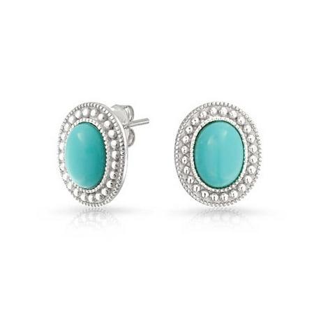 - Blue Gemstone Stabilized Turquoise Bead Bezel Halo Oval Stud Earrings For Women 925 Sterling Silver