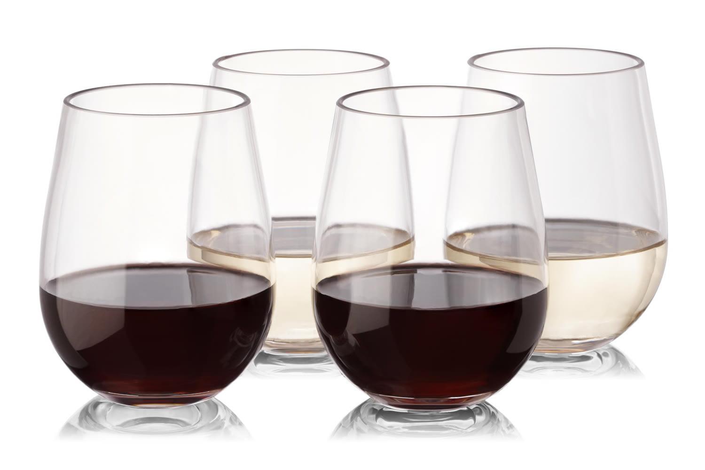 2c0635de3fe Reusable Plastic Wine Glasses - Set of 16 - Stemless - Unbreakable - High  Quality - Tritan Plastic - from NOTMOG