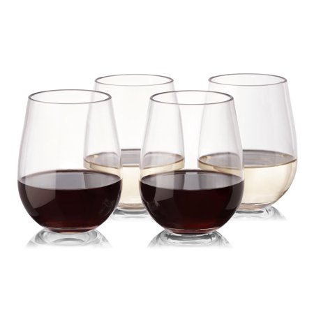 Reusable Plastic Wine Glasses - Set of 16 - Stemless - Unbreakable - High Quality - Tritan Plastic - from NOTMOG