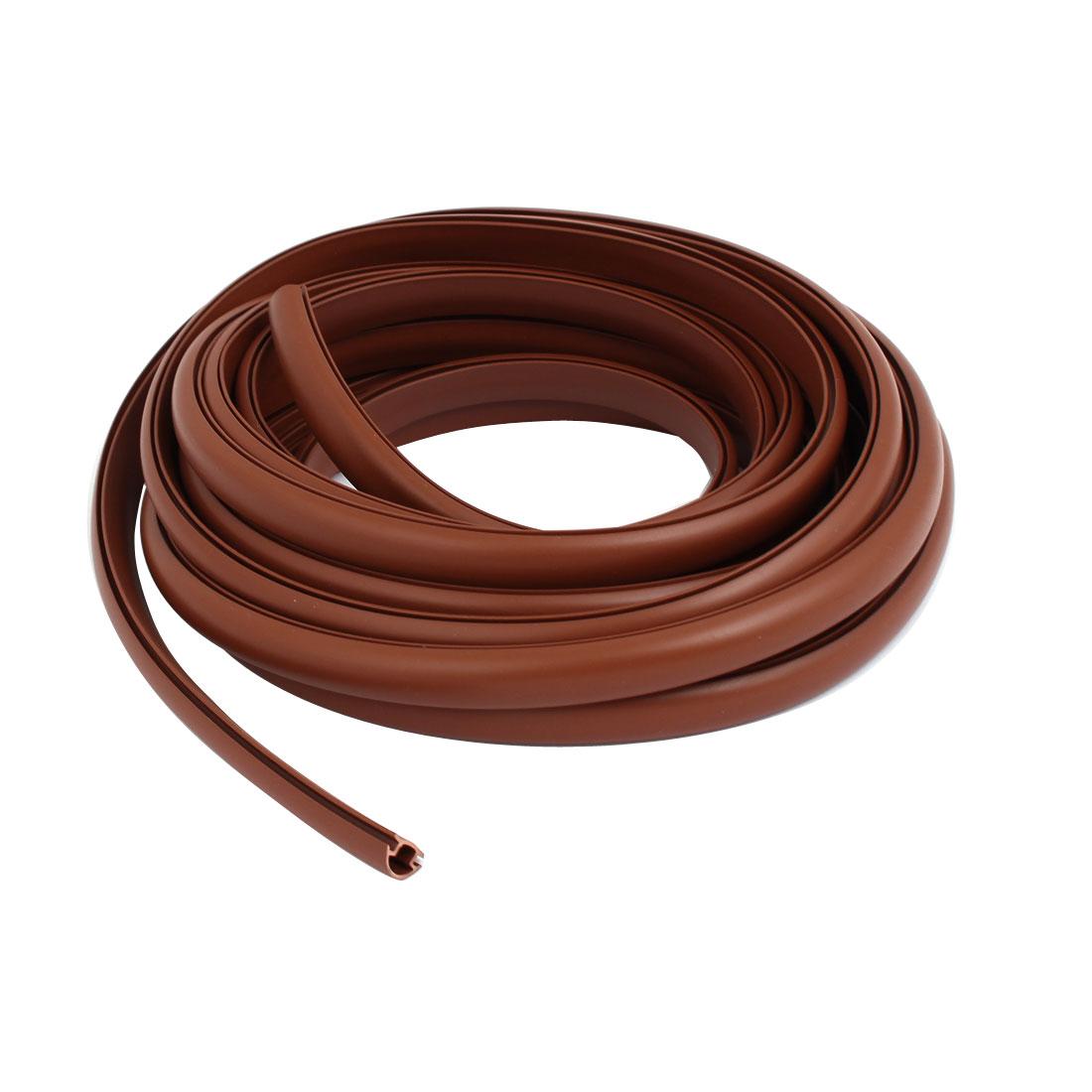 13.5mm Width 5M Length PVC Slot Type Door Seal Weather Strip Brown