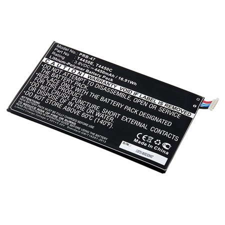 Samsung Galaxy Tab 3 8.0 Replacement Battery - PRB-47 This replacement 3.8 volt 4450 mAh Lithium Polymer battery fits the Samsung Galaxy Tab 3 8.0 Portable Reader and meets or exceeds original manufacturer specifications.Replaces these batteries:Samsung GH43-03857ASamsung T4450CSamsung T4450EFits these devices:Samsung Tablet Galaxy Tab 3 8.0Samsung Tablet Galaxy Tab 3 8.0 SM-T310Samsung Tablet Galaxy Tab 3 8.0 SM-T311Samsung Tablet Galaxy Tab 3 8.0 SM-T315Samsung Tablet Galaxy Tab 4Samsung Tablet Galaxy Tab 4 8.0 LTESamsung Tablet Galaxy Tab 4 8.0 SM-T330Samsung Tablet Galaxy Tab 4 8.0 SM-T335Samsung Tablet Galaxy Tab 4 8.0 SM-T335F3Samsung Tablet Galaxy Tab 4 8.0 SM-T337ASamsung Tablet Galaxy Tab 4 8.0 SM-T337VSamsung Tablet Galaxy Tab 4 8.0 WiFiSamsung Tablet MilletSamsung Tablet SM-T310Samsung Tablet SM-T311Samsung Tablet SM-T3110Samsung Tablet SM-T315Samsung Tablet SM-T330Samsung Tablet SM-T335Samsung Tablet SM-T335F3Samsung Tablet SM-T337ASamsung Tablet SM-T337V