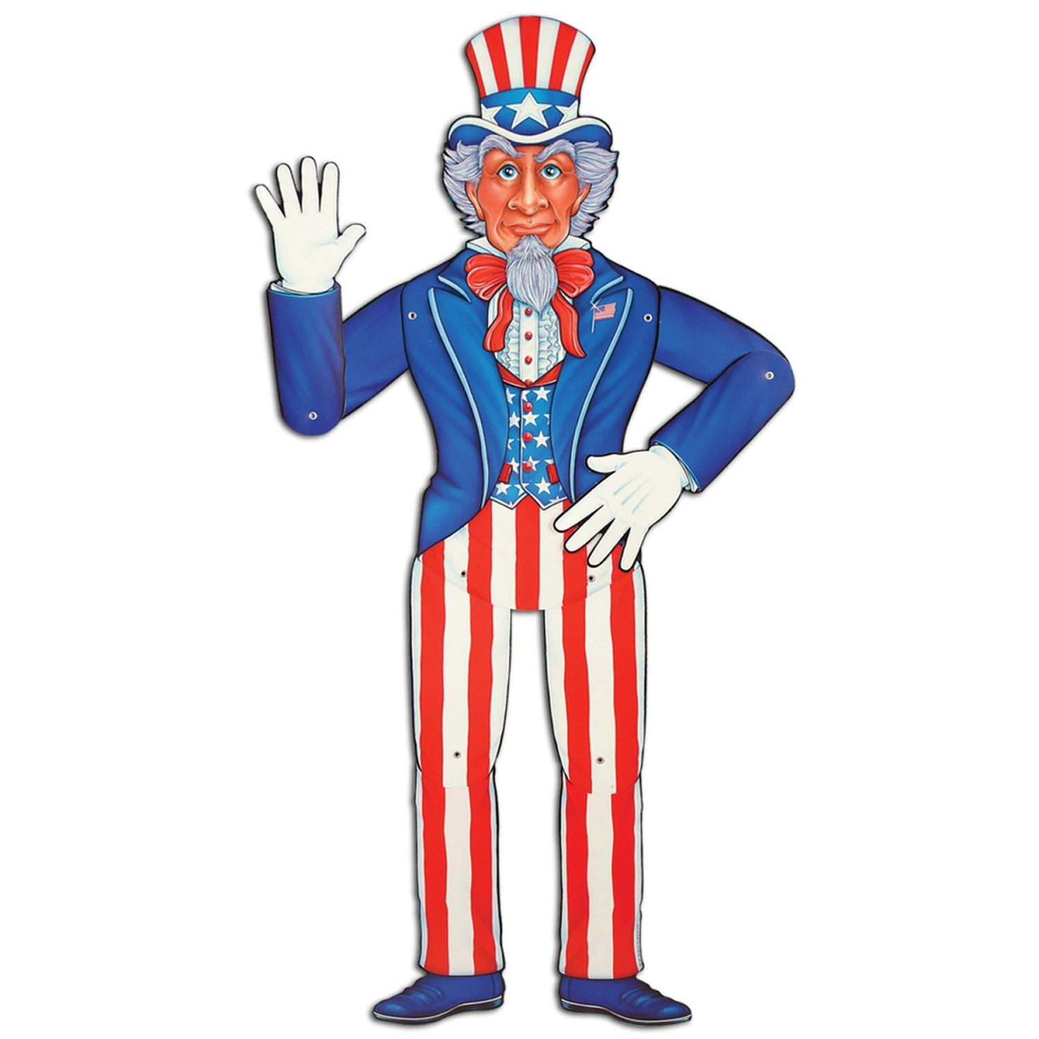 """Club Pack of 12 Red, White and Blue Patriotic Jointed Uncle Sam 4th of July Hanging Decorations 36"""""""