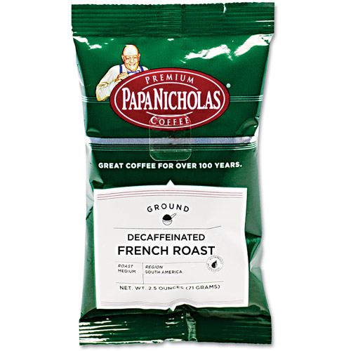 PapaNicholas Decaffeinated French Roast Premium Ground Coffee, 2.5 oz, 18 count