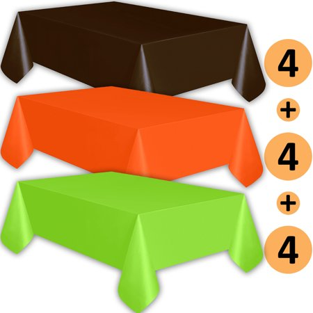 12 Plastic Tablecloths - Brown, Orange, Lime Green - Premium Thickness Disposable Table Cover, 108 x 54 Inch, 4 Each Color ()