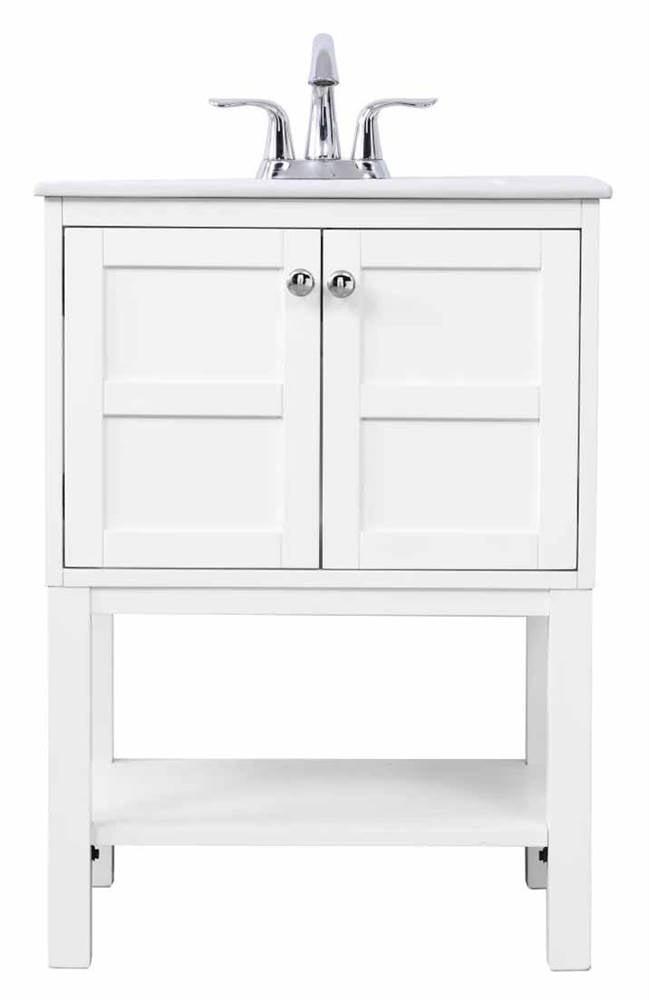 Elegant Decor Vf2524wh 24 In Mason Single Bathroom Vanity Set White Walmart Com Walmart Com