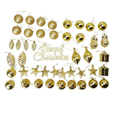 45-Pack Christmas Tree Ornaments Set - Assorted Gold Shatterproof Balls, Baubles, Pendants, Stars, Owls, Bells, Pine Cones, Gift Boxes, 10 Festive Holiday Designs, Winter Hanging Plastic Decoration ()