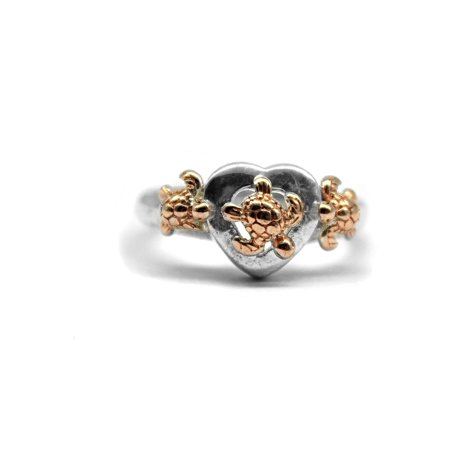 925 Sterling Silver Hawaiian Three Turtle CZ Ring Rose Gold Heart Shape