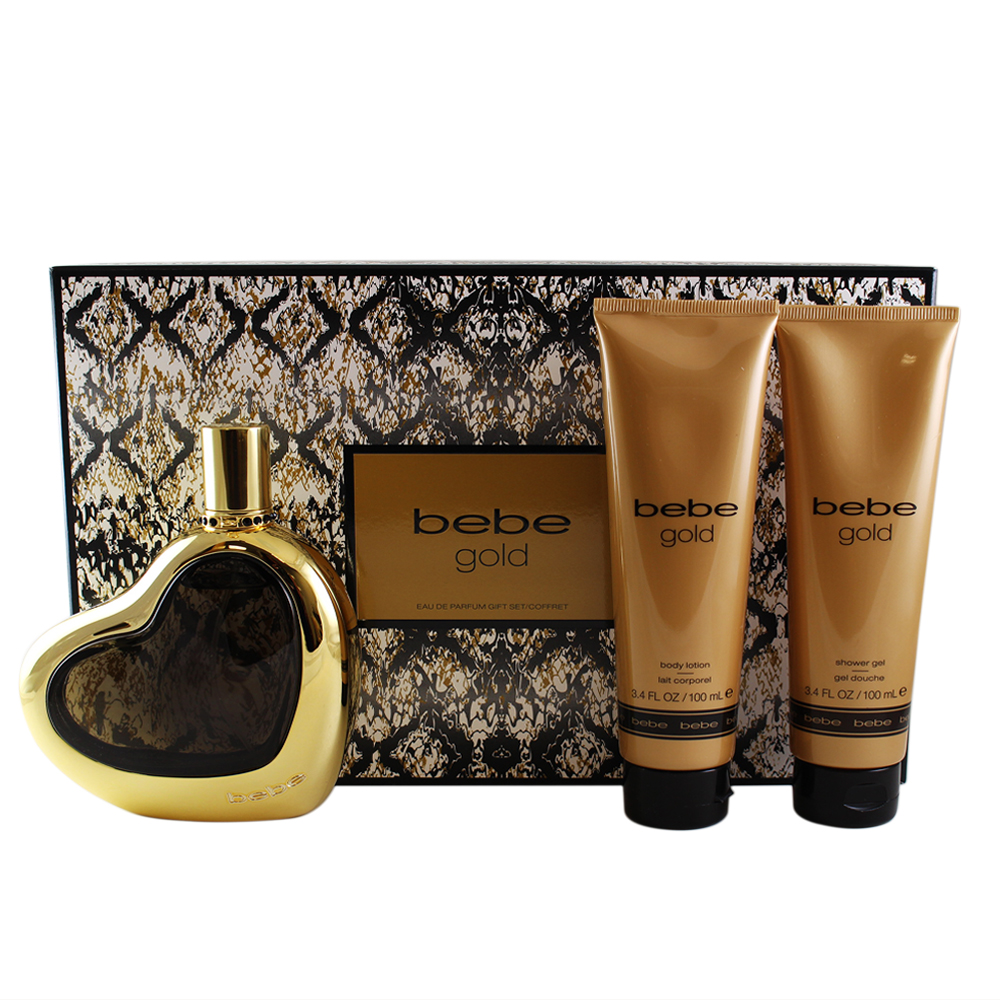 Bebe Gold 3 Pc Gift Set ( Eau De Parfum Spray 3.4 Oz + Shower Gel 3.4 Oz + Body Lotion 3.4 Oz )