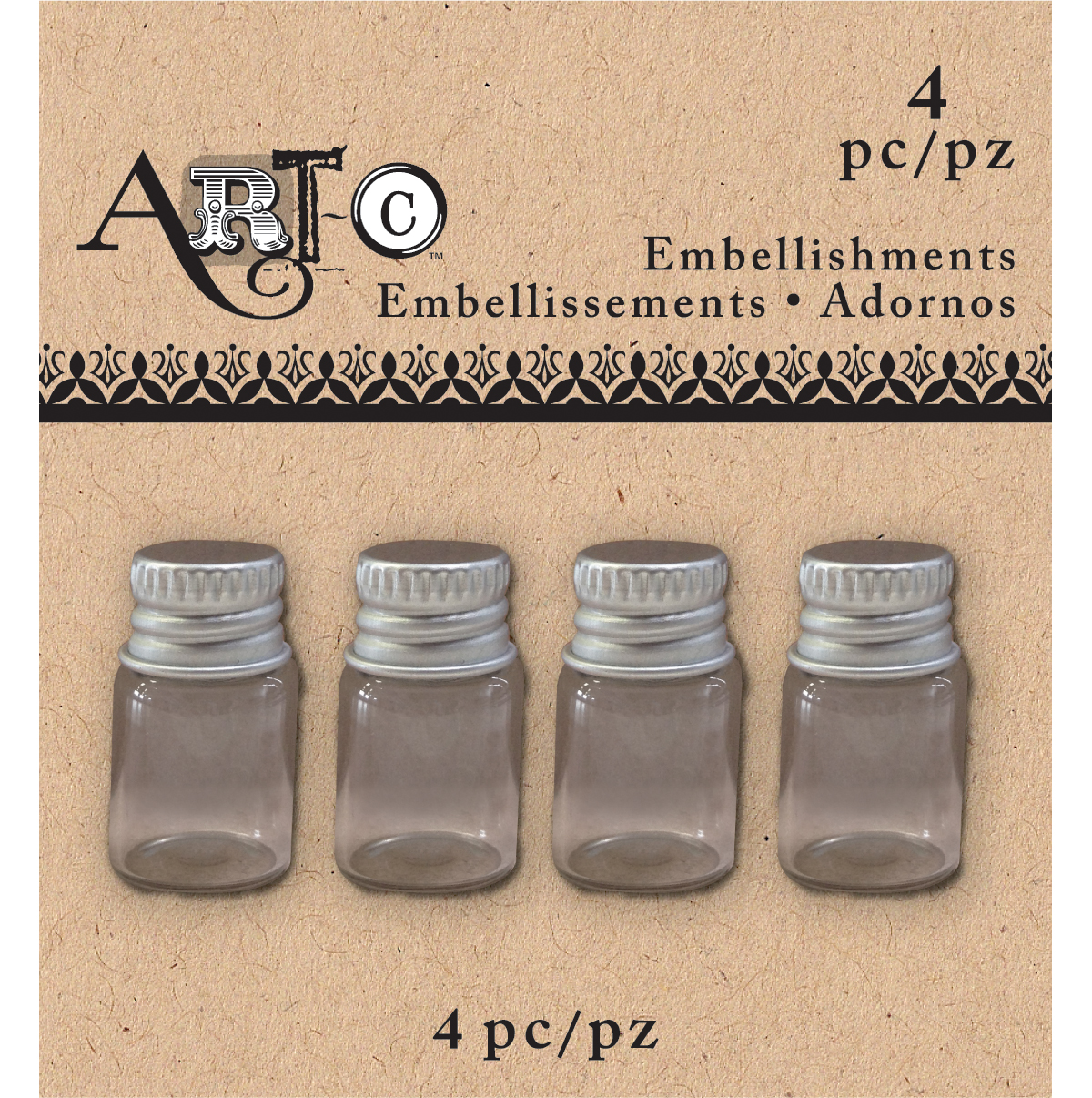 Art-C Mini Glass Bottles-Clear Short Round, 4/Pkg