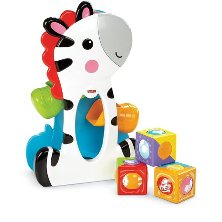 Fisher-Price Roller Blocks Tumblin' Zebra, Drop the roller blocks through the opening to make the zebra's hands wave up and down! By FisherPrice