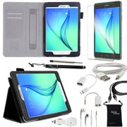 Samsung Galaxy Tab A 8-Inch Case - DigitalsOnDemand ® 10-Item Accessory Kit for Tab A 8.0 - Leather Case, Screen Protector, Stylus, USB, Car Charger, Earphones and Splitter, OTG, AUX, Travel Bag