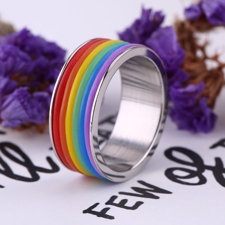 Rainbow Ring,Women Men Gay Stainless Steel Jewelry Rainbow Ring for Wedding Party Valentine's Day Size 7 - Rings For Valentine's Day