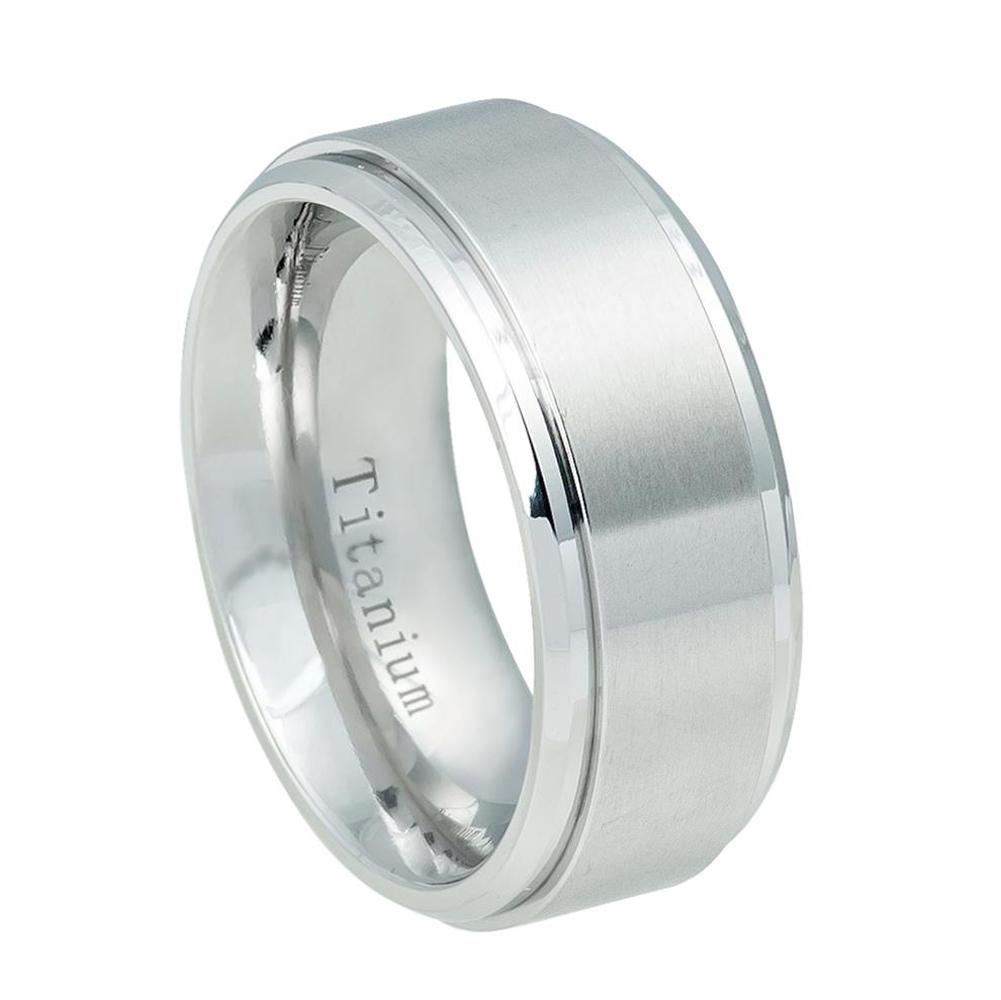 9mm - For Men or Ladies Step Edge Brushed Center White Titanium Wedding Band Ring