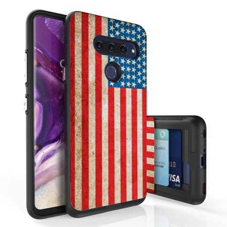 LG V40 ThinQ Case, PimpCase Slim Wallet Case + Dual Layer Card Holder For LG V40 ThinQ (Released 2018) American Flag](Flag Holder Case)