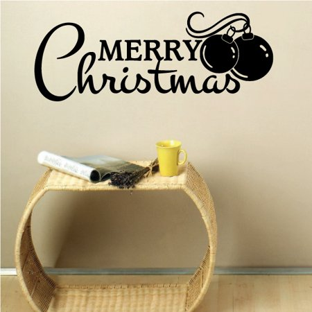 Merry Christmas w/ Ornaments Quote Wall Decal - Vinyl Decal - Car Decal - Vd157 - 36 Inches ()