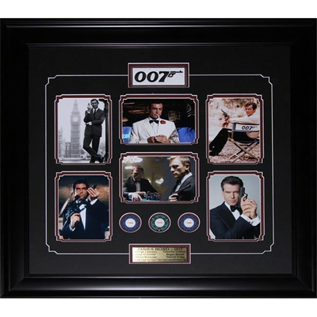 Midway Memorabilia James Bond 007 Movie Compilation Poker Chips Frame