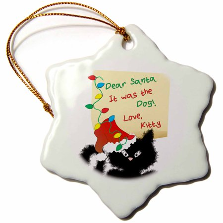 3dRose Funny Fuzzy Black Cat Dear Santa Christmas Letter - Snowflake Ornament, 3-inch