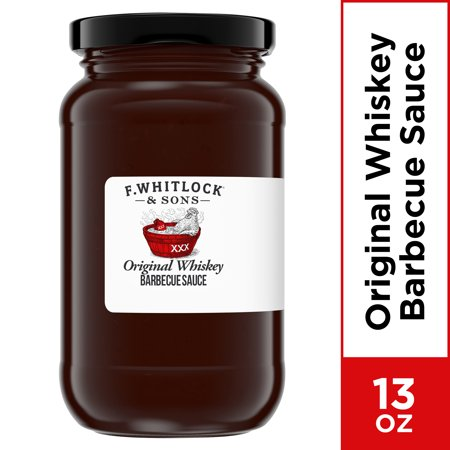 F. WHITLOCK & SONS Original Whiskey BBQ Sauce, 13 oz Jar Whiskey Grilling Sauce