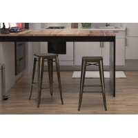 """Dorel Home Products Fusion 30"""" Metal Backless Bar Stool with Wood Seat, Set of 2, Multiple Colors"""