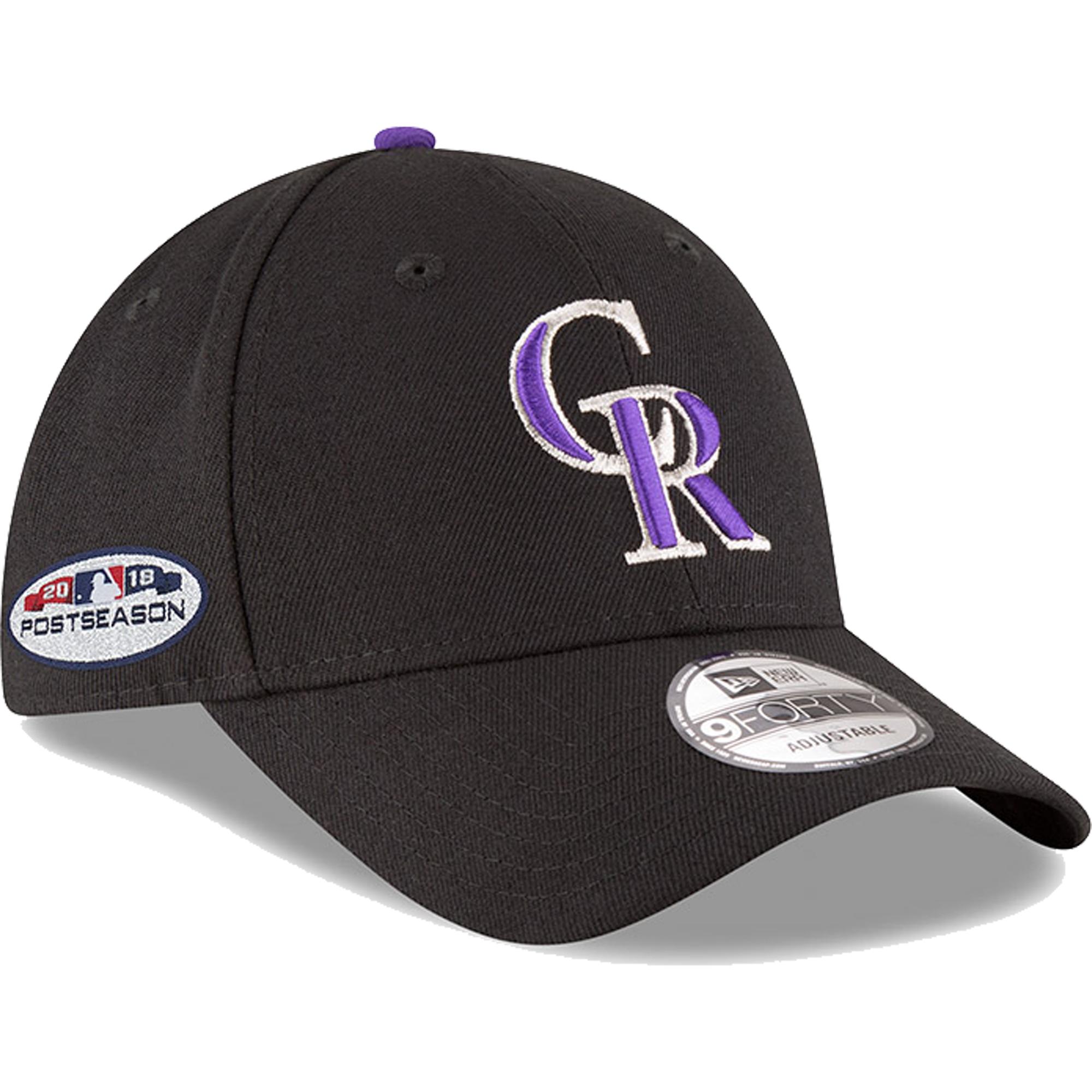 Colorado Rockies New Era 2018 Postseason Side Patch 9FORTY Adjustable Hat - Black - OSFA