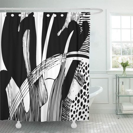 KSADK Colorful Linear of Abstract Black and White Drawing Gray Modern Line Block Color Shower Curtain 66x72 inch