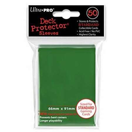 Trading Card Set Sleeves - Ultra-Pro Green Deck Protectors (Sleeves) 50-count for Standard Sized Trading Cards (UPR82671), 074427826710 By Ultra Pro