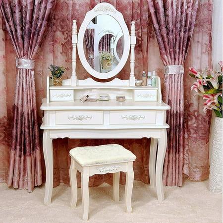 Zimtown Makeup Dressing Table Set w/Stool 4 Drawer & Mirror Wood ...
